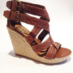 DOLCE VITA WOVEN STRAPPY WEDGE PLATFORM SANDALS 6